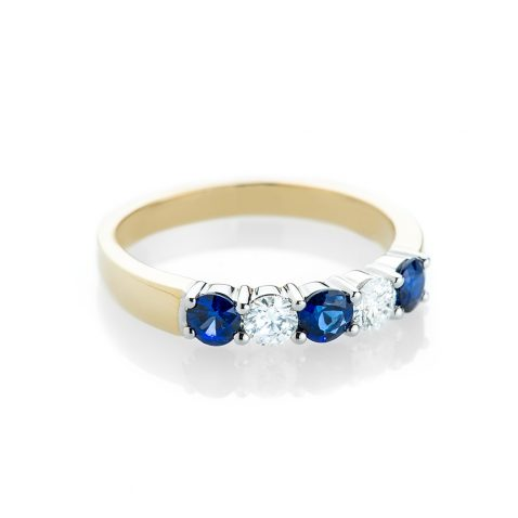 Heidi Kjeldsen Eye Catching Royal Blue Sappire and Diamond Eternity Ring R1166-1