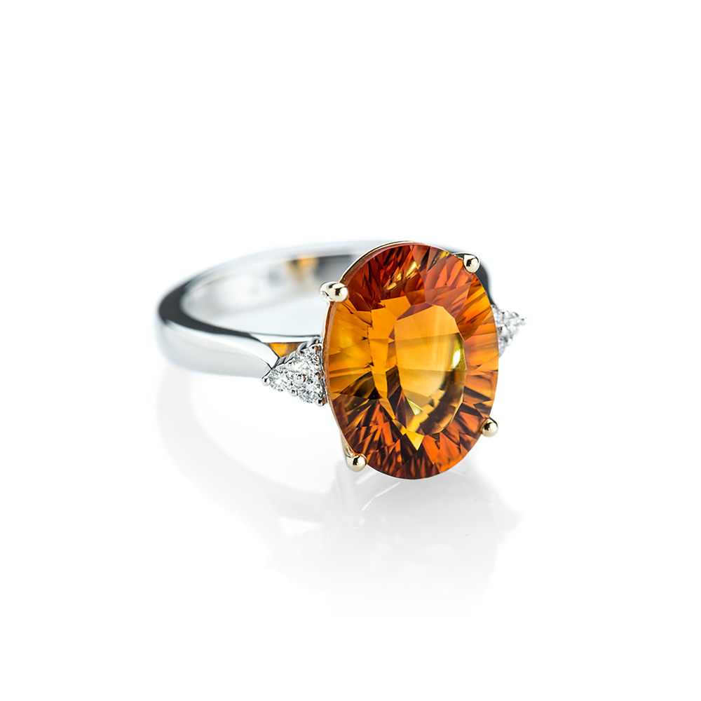 Glorious Citrine and Diamond 18ct white Gold Ring