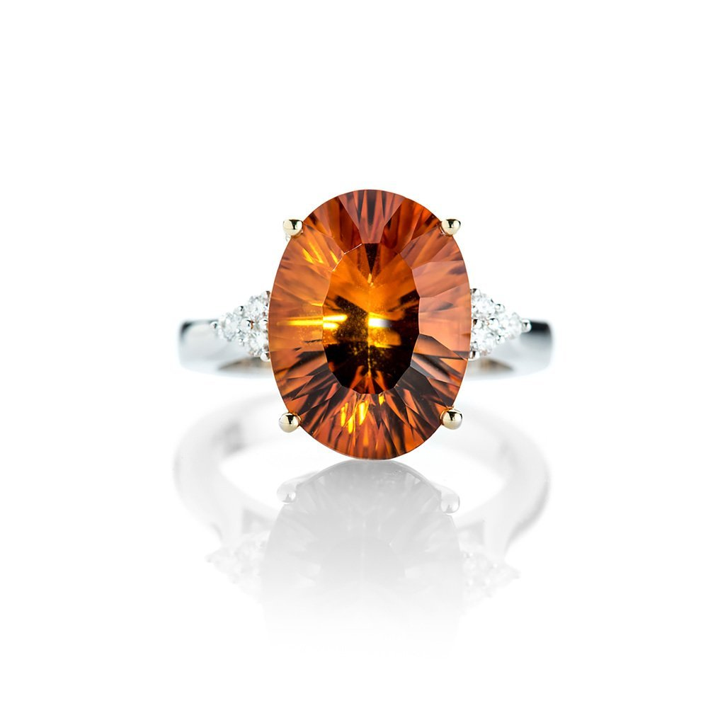 Heidi Kjeldsen Glorious Citrine and Diamond 18ct White Gold Ring R1152-1