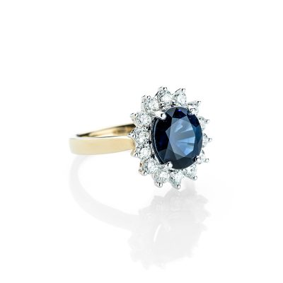 Heidi Kjeldsen Glorious Sapphire and Diamond Cluster Ring R1160-1