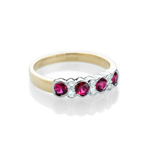 Heidi Kjeldsen Gorgeous Blood Red Ruby and Diamond Eternity Ring R1173-1