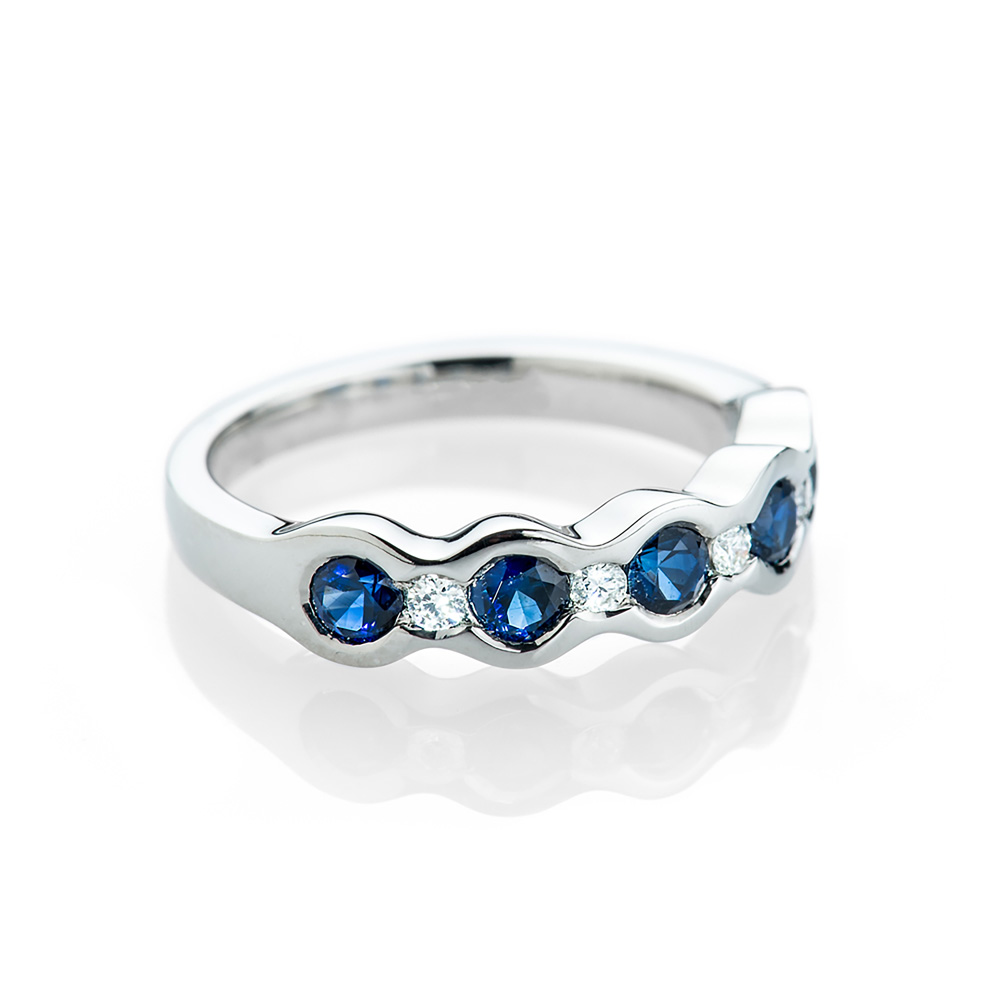 Modern Sapphire and Diamond Rub-over Set Ring