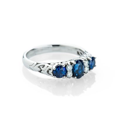 Heidi Kjeldsen Sapphire and Diamond Carved Victorian Style Ring R1162-1