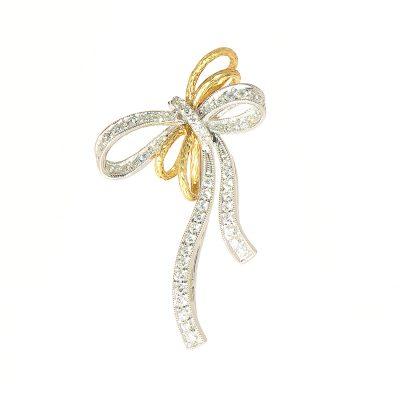 heidi kjeldsen diamond and 18ct yellow and white gold brooch BR0010