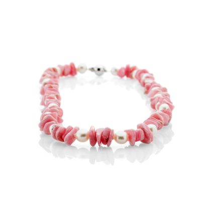 Heidi Kjeldsen Beautiful Rhodochrosite Cultured Pearl And 14ct White Gold Necklace