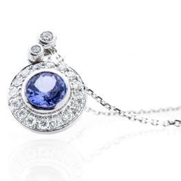 Heidi Kjeldsen Beautiful Tanzanite And Diamond 18ct White Gold Pendant