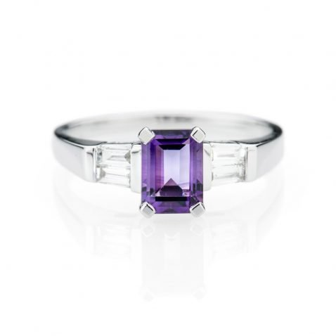 Heidi Kjeldsen Contemporary Amethyst And Diamond 18ct White Gold Ring