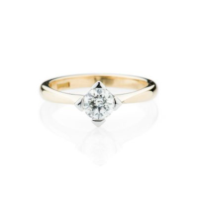 Heidi Kjeldsen Modern Diamond Solitaire And 18ct Yellow And White Gold Ring