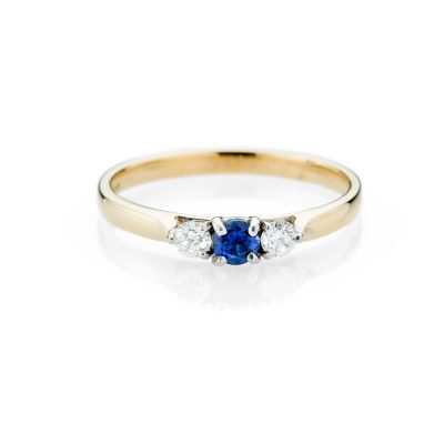 Heidi Kjeldsen Pretty Ceylon Sapphire And Diamond 18ct Yellow And White Gold Ring