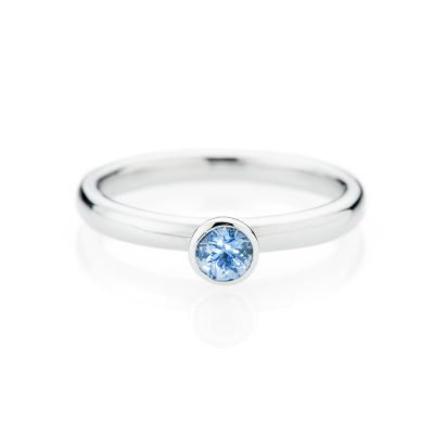 Heidi Kjeldsen Pretty Cornflower Blue Ceylon Sapphire And 18ct White Gold Stacking