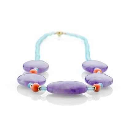 Heidi Kjeldsen Striking Amethyst-Coral Blue Chalcedony And 9ct Yellow Gold Necklace