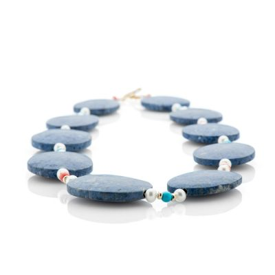 Heidi Kjeldsen Striking Sodalite Turquoise Coral Cultured Pearl And 9ct Gold Necklace
