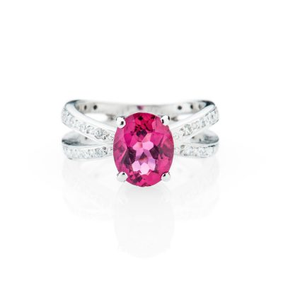 Heidi Kjeldsen Stunning Pink Tourmaline And Diamond Dress Ring
