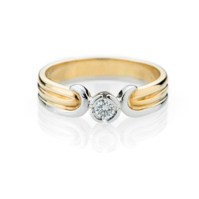 Heidi Kjeldsen Stylish Diamond And 18ct Yellow And White Gold Bespoke Ring