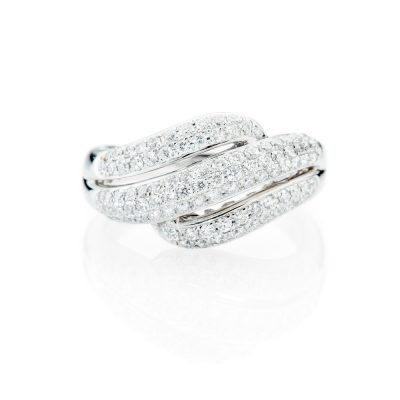 Heidi Kjeldsen Stylish Pave Set Diamond And 18ct White Gold Ring