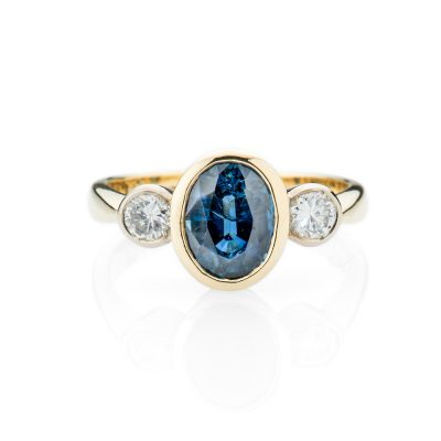 Heidi Kjeldsen Sumptuous Oval Sapphire And Diamond 18ct Yellow Gold Bespoke Ring