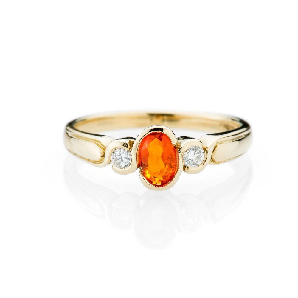 Vibrant Fire Opal and Diamond 18ct Yellow Gold Ring