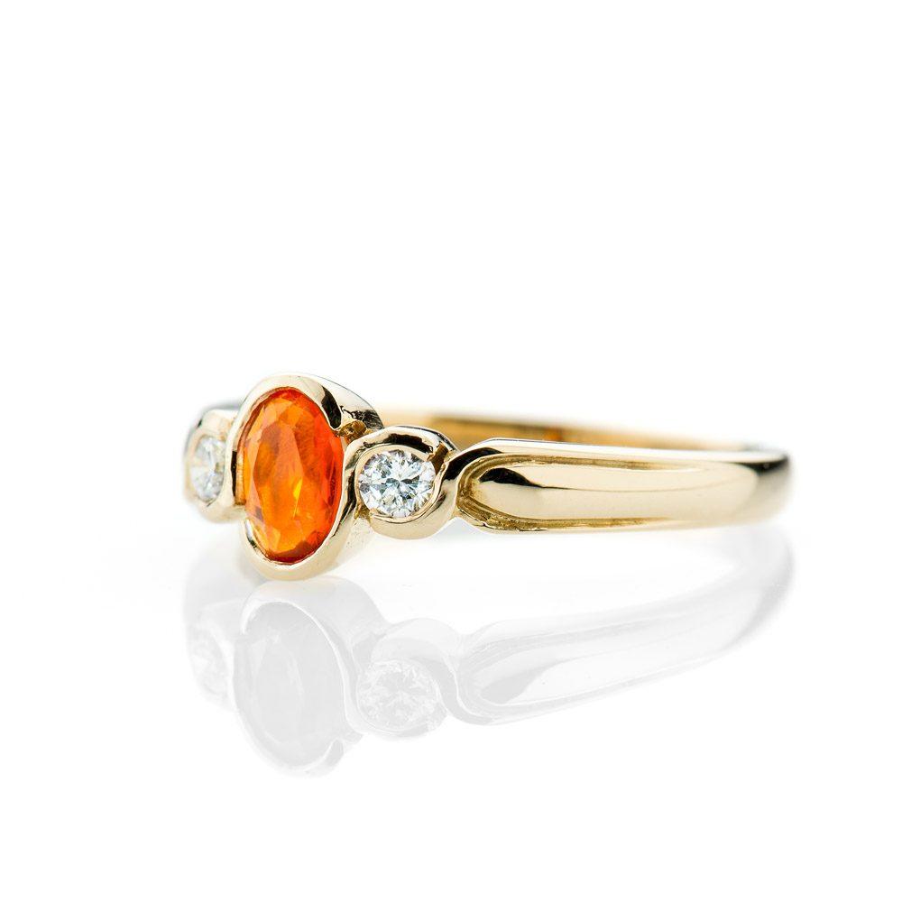 Heidi Kjeldsen Vibrant Fire Opal And Diamond 18ct Yellow Gold Ring