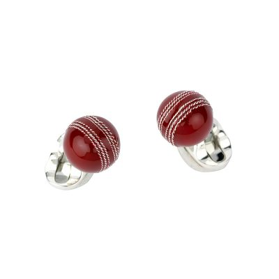Heidi Kjeldsen Sterling Silver Cricket Ball Cufflinks CL0244