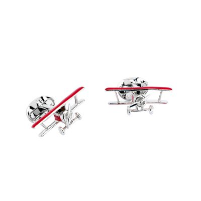 Heidi Kjeldsen Sterling Silver Red Biplane Cufflinks with Rotating Propeller CL0247