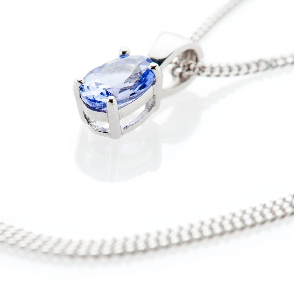 Heidi Kjeldsen Beautiful and Rare Tanzanite Oval Pendant 9ct White Gold - P1206+w9CB182.2-3
