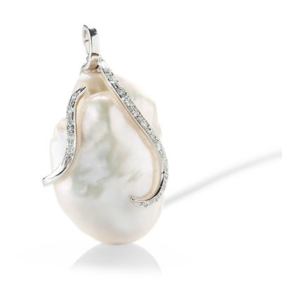Heidi Kjeldsen Beautifully Entwined Large Baroque Pearl And Diamond 18ct White Gold Pendant - P1113+W9TR181.8-2