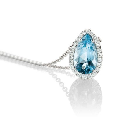 Heidi Kjeldsen Breath Taking Stunning Aquamarine And Diamond 18ct White Gold Pendant - P1089+W18TR183.8-2