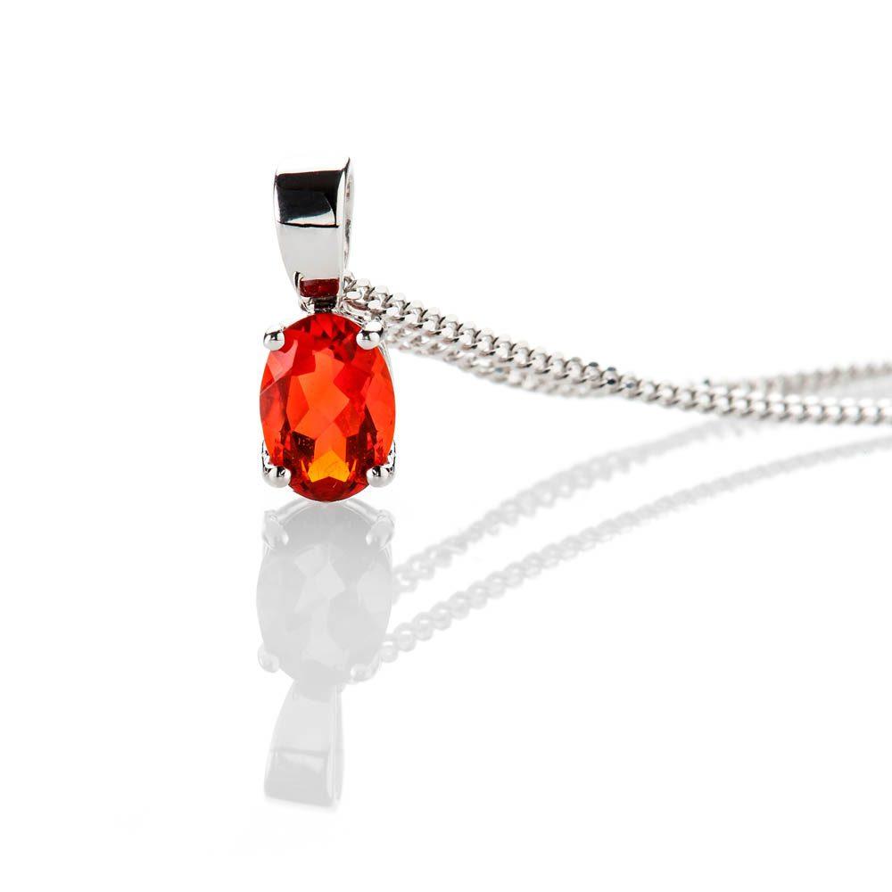Heidi Kjeldsen Bright And Beautiful Oval Fire Opal Pendant 9ct White Gold - P1204+W9CB162.0-2