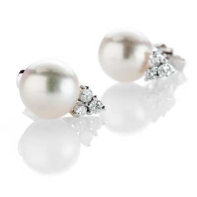 Heidi Kjeldsen Captivating Akoya Pearl And Diamond Trefoil 18ct White Gold Earrings - ER2212-1