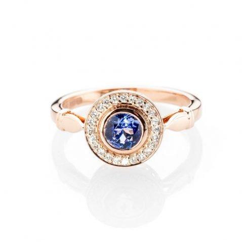 Heidi Kjeldsen Charming Tanzanite And Diamond Cluster Ring In 18ct Rose Gold R1293