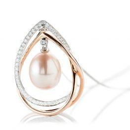 Heidi Kjeldsen Classic And Elegant Tear Drop Shaped Pink Pearl 18ct White And Rose Gold Pendant P1131+W18FC18-2