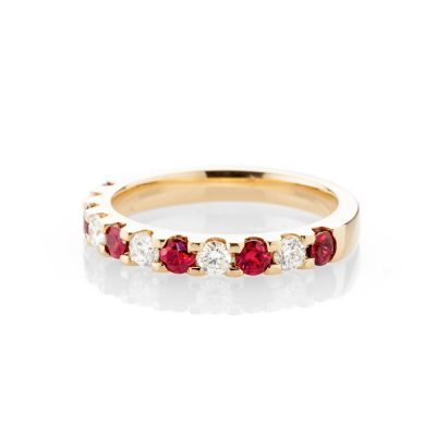 Heidi Kjeldsen Dazzling Ruby And Diamond Eternity Ring In 18ct Yellow Gold R1281