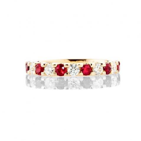 Heidi Kjeldsen Dazzling Ruby And Diamond Eternity Ring In 18ct Yellow Gold R1281