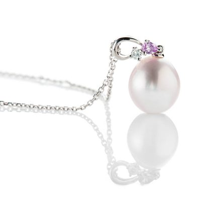 Heidi Kjeldsen Delicate Cultured Pearl Diamond And Pink Sapphire 18ct white Gold Pendant - P1098+W18TR182.5-2