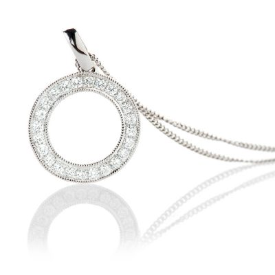Heidi Kjeldsen Delicate Diamond Circle 18ct White Gold Pendant - P1126+W18FC18-2