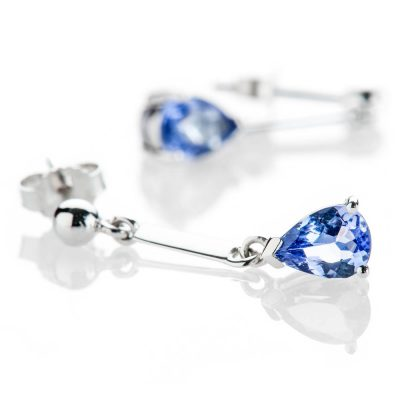 Heidi Kjeldsen Delicate Drop Shaped Tanzanite 9ct White Gold Drop Earrings - ER2311-1