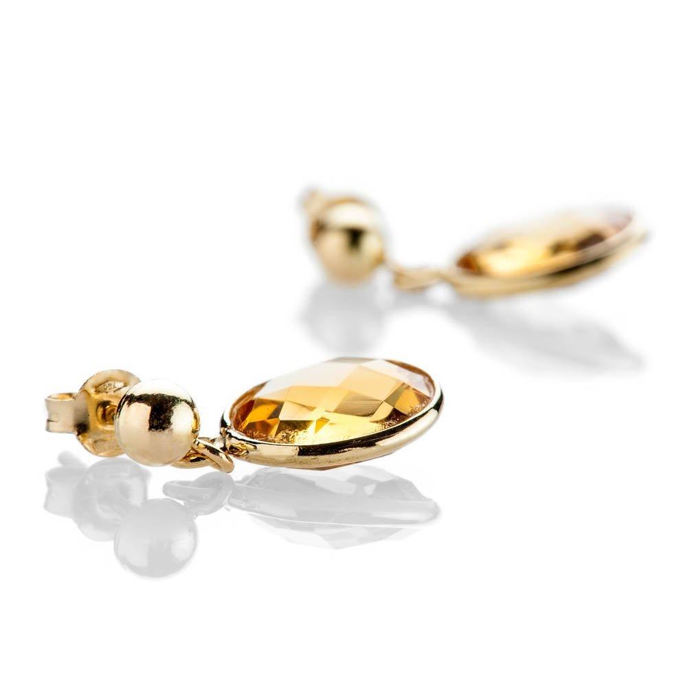 Heidi Kjeldsen Delightful Citrine Oval Drop Earrings In 18ct Yellow Gold - ER2214-1