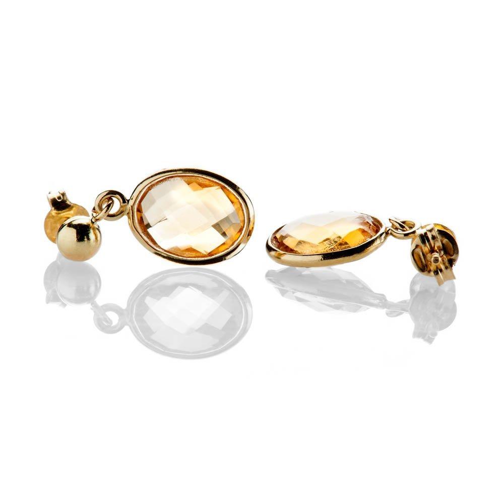 Heidi Kjeldsen Delightful Citrine Oval Drop Earrings In 18ct Yellow Gold - ER2214-3