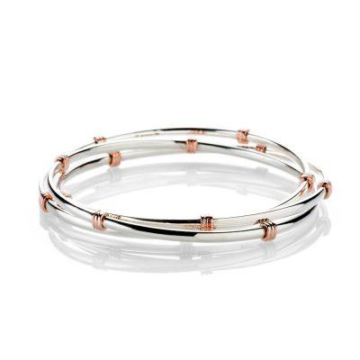 Heidi Kjeldsen Elegant And Timeless Sterling Silver And 9ct Rose Gold Triple Bangle BL1272-1