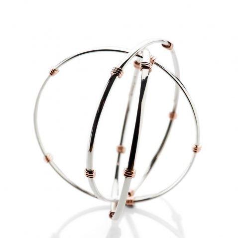 Heidi Kjeldsen Elegant And Timeless Sterling Silver And 9ct Rose Gold Triple Bangle BL1272-3