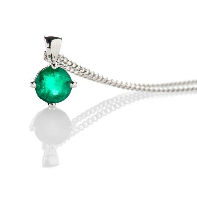 Heidi Kjeldsen Elegant Emerald Round Pendant 18ct White Gold - P1209+W18CB182.8-2