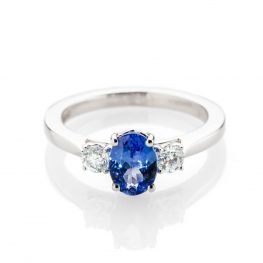 Heidi Kjeldsen Exquisite Tanzanite And Diamond Three Stone Ring Made In 18ct white Gold R1291 1