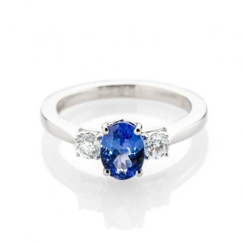 Heidi Kjeldsen Exquisite Tanzanite And Diamond Three Stone Ring Made In 18ct white Gold R1291 1
