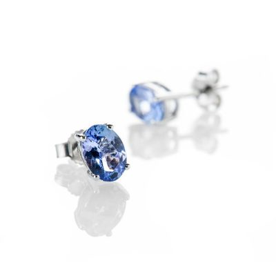 Heidi Kjeldsen Gorgeous Oval Tanzanite 9ct White Gold Stud Earrings - ER2310-1