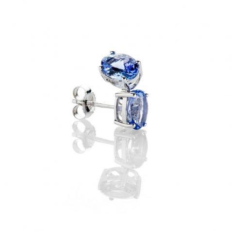 Heidi Kjeldsen Gorgeous Oval Tanzanite 9ct White Gold Stud Earrings - ER2310-2