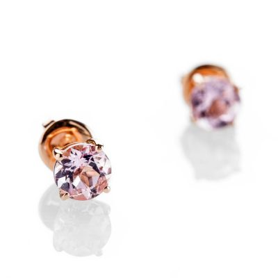 Heidi Kjeldsen Lustrous Pink Morganite 18ct Rose Gold Stud Earrings ER2312-1