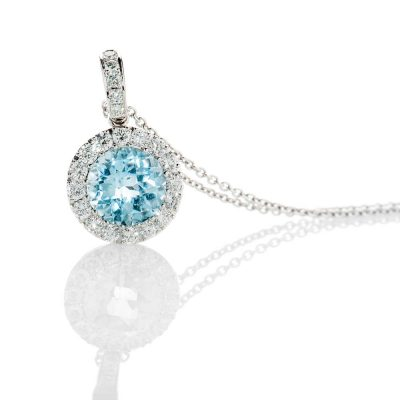 Heidi Kjeldsen Mesmerising Diamond And Blue Topaz 18ct White Gold Pendant - P1083+W18S17AD-2
