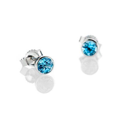 Heidi Kjeldsen Neat Swiss Blue Topaz And 9ct White Gold Earrings - ER2305-1