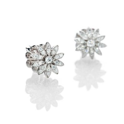 Heidi Kjeldsen Pretty Diamond And 18ct White Gold Flower Design Earrings - ER2077-1