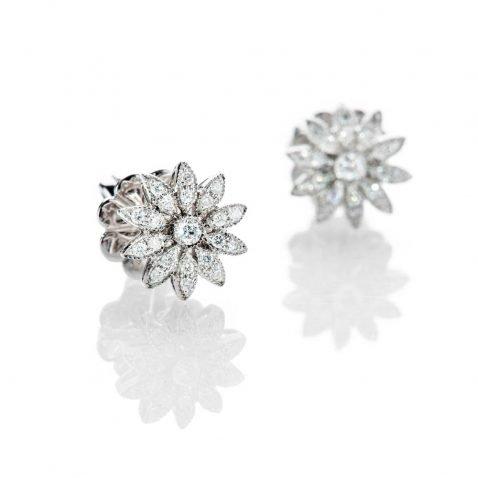 Heidi Kjeldsen Pretty Diamond And 18ct White Gold Flower Design Earrings - ER2077-1